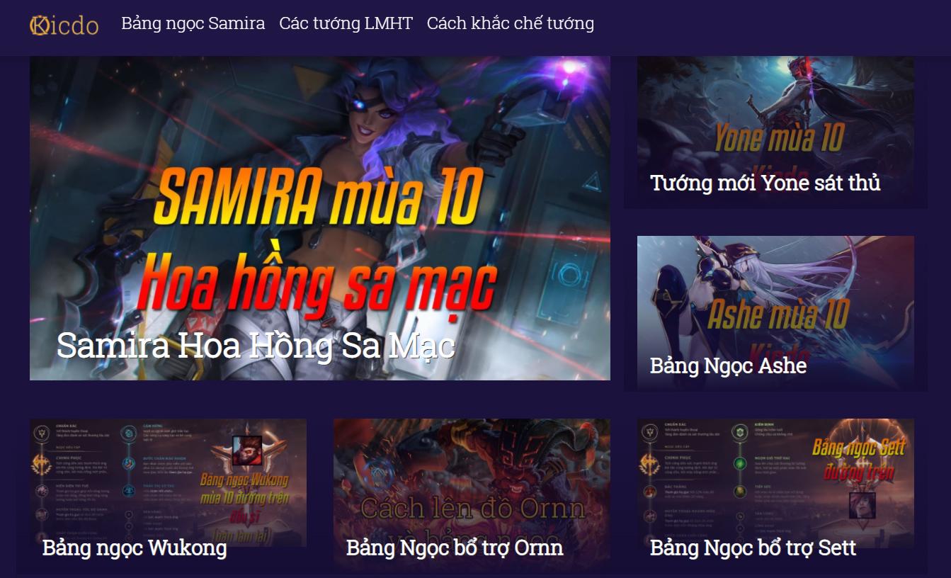Website hướng dẫn chơi game LMHT Kicdo
