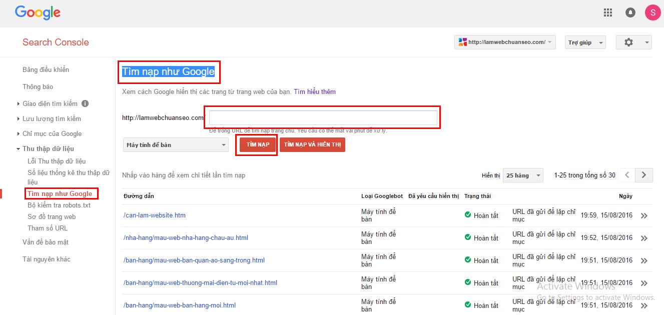 Tính năng tìm nạp như google trong google webmaster tools