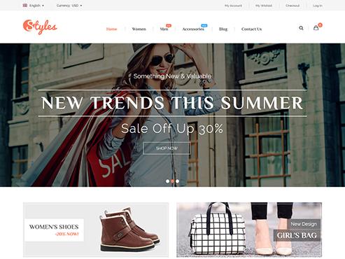 Mẫu web thời trang phụ kiện